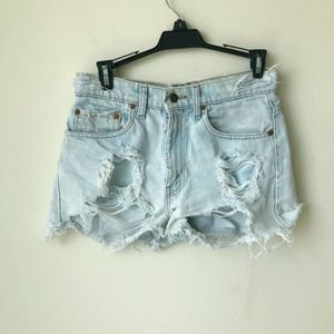 Levi's Light Wash Distressed Ripped Jean Shorts